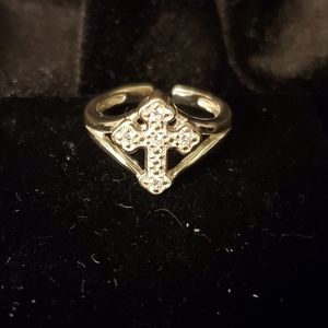🌞3/$25🌞 Sterling Silver CZ Cross Ring - small